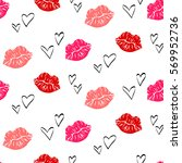 seamless pattern with red lips... | Shutterstock .eps vector #569952736