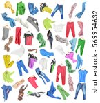 colored clothes in falling... | Shutterstock . vector #569954632