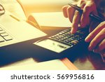 close up hand's woman calculate ... | Shutterstock . vector #569956816