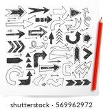doodle sketch arrows and orange ... | Shutterstock .eps vector #569962972