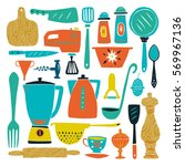 set of kitchenware and utensils ... | Shutterstock .eps vector #569967136