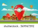find place concept. cityscape... | Shutterstock .eps vector #569967592