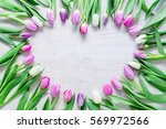 Heart From Pink Tulips Flowers...