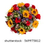bouquet of flowers top view on... | Shutterstock . vector #569975812