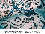Watch Inside Mechanism 3D Visualization Illustration. Silver Watch Mechanism. - stock photo