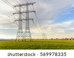 power pylons and high voltage... | Shutterstock . vector #569978335