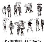 urban citizen in the rain | Shutterstock . vector #569981842