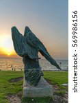 Small photo of TEL AVIV, ISRAEL - MAY 22, 2016: Woman Against the Wind sculpture designed by in Ilana Goor in Charles Clore Park.