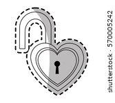 padlock in heart shape | Shutterstock .eps vector #570005242