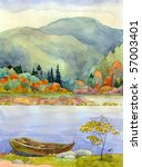 Watercolor Landscape. Old Boat...