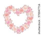 Stock vector tender color pink rose bouquet in heart shape elegant vector illustration design element for 570047716