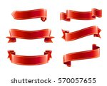 red ribbons set realistic... | Shutterstock .eps vector #570057655