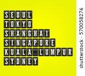 seoul  tokyo  shanghai ... | Shutterstock .eps vector #570058276