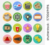 cinema and movie flat icons set ... | Shutterstock .eps vector #570069496