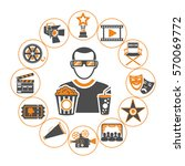 cinema and movie concept with... | Shutterstock .eps vector #570069772