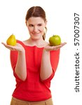 Young Woman Holding An Apple...