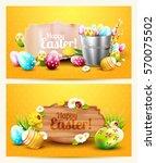easter horizontal headers with... | Shutterstock .eps vector #570075502
