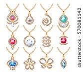 jewelry pendants set. golden... | Shutterstock .eps vector #570081142