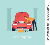man repair car. shop. flat... | Shutterstock .eps vector #570086842