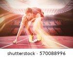 focused sportsman at starting... | Shutterstock . vector #570088996
