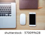 vintage photo of laptop with... | Shutterstock . vector #570099628