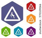 deer traffic warning sign icons ... | Shutterstock .eps vector #570109066