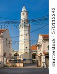 Small photo of Minaret of the old Lebuh Aceh Mosque, UNESCO heritage site in George Town, Penang, Malaysia.