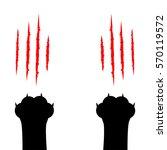 black cat scratching paw print...   Shutterstock .eps vector #570119572