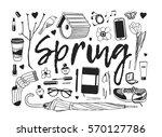 hand drawn fashion illustration.... | Shutterstock .eps vector #570127786