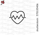 web line icon. heart cardiogram ... | Shutterstock .eps vector #570135406
