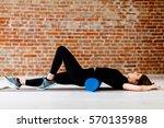 beautiful attractive fitness... | Shutterstock . vector #570135988