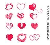 set icon    hearts   Shutterstock .eps vector #57013778