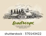 rural landscape sketch. farm ... | Shutterstock .eps vector #570143422
