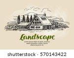 Rural Landscape Sketch. Farm ...