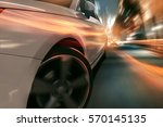 surreal scene of a speeding car ... | Shutterstock . vector #570145135