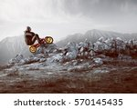 businessman with pedal car | Shutterstock . vector #570145435