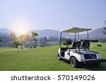 Golf Car On Green Grass...