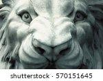 white lion sculpture. toned.... | Shutterstock . vector #570151645