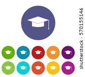 Graduation Cap Set Icons In...