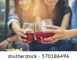 women are at a party new year ... | Shutterstock . vector #570186496