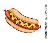 hot dog with mustard  ketchup... | Shutterstock .eps vector #570193348