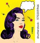 pop art woman in comic style  | Shutterstock .eps vector #570205966
