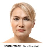 mature woman face before and... | Shutterstock . vector #570212362