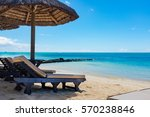 parasol in sea tropical... | Shutterstock . vector #570238846