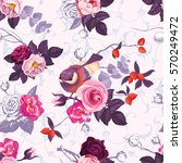 floral seamless pattern with... | Shutterstock .eps vector #570249472