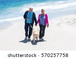 Stock photo cute mature couple walking their dog on the beach 570257758