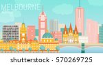 Melbourne City Flat Vector...