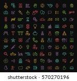 set of 100 isolated minimal... | Shutterstock .eps vector #570270196
