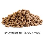 Dry Dog Food Isolated On White...