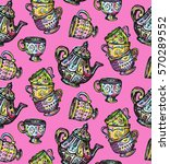 doodle pattern with cup and... | Shutterstock .eps vector #570289552